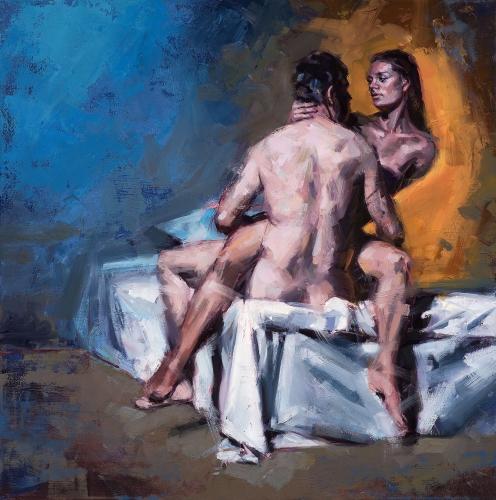 Ölbild, Intime Distanzen, Figurative Malerei, Contemporary Realism, Couple, Paar,