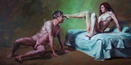 Ölbild, Intime Distanzen, Figurative Malerei, Contemporary Realism, Couple, Paar, stefan_nuetzel